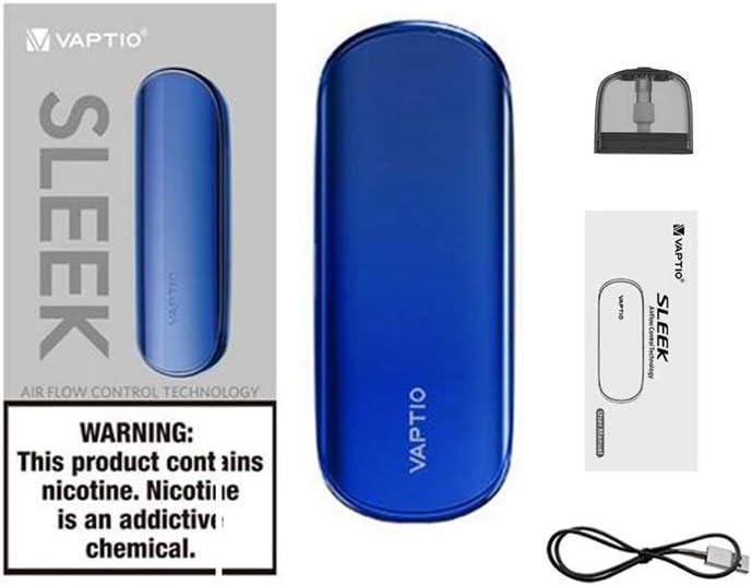 Vaptio sleek Kits de cigarrillos electrónicos con vaporizador UI fresco sin líquido E sin nicotina (Azul)