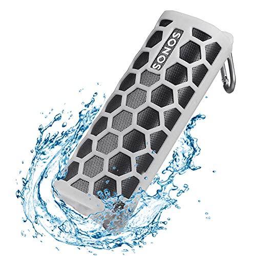 Seracle Silikonhülle Tragetasche Case Schlinge Tasche für Sonos Roam WLAN & Bluetooth Speaker (Grau)