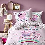 Peppa Pig Unicorn Parure de Couette, 100% Coton, Rose Poudre, 140 x 200/63 x 63 cm - Taille française