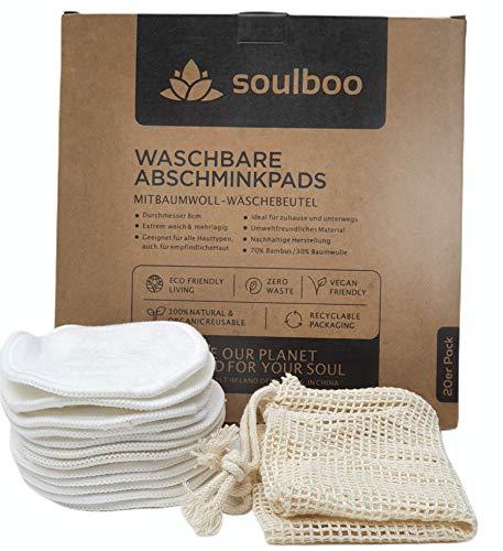 Soulboo® Waschbare Abschminkpads, 20 Stück, Wiederverwendbare Wattepads aus Bambus und Baumwolle, Umweltfreundlich, Weich & Schonend, Abschminktücher mit Wäschenetz, Ideal für die Gesichtsreinigung