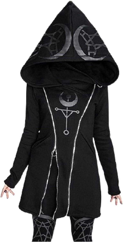 Women Loose Hooded Jacket Gothic Punk Long Sleeve Stitching Black Cardigan Zipper Jacket Coat for Halloween