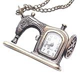 81stgeneration Frauen Analog Quarz Antike Nähmaschine Taschenuhr Anhänger Halskette Messing