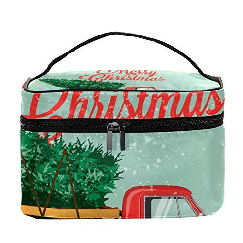 Neceser de Maquillaje Estuche Escolar para Cosméticos Bolsa de Aseo Grande Camión de árbol de Navidad
