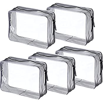 Pangda 5 Pack Clear PVC Zippered Toiletry Carry Pouch Portable Cosmetic Makeup Bag for Vacation Bathroom and Organizing  Large Transparent