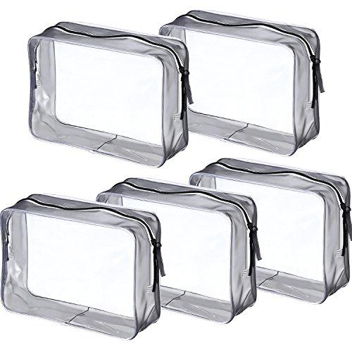 5 Piezas de Bolsa de Aseo con Cremallera PVC Bolsa Portátil de Maquillaje Cosméticos Transparente para Vacación, Baño y Almacenamiento (Grande, Transparente)