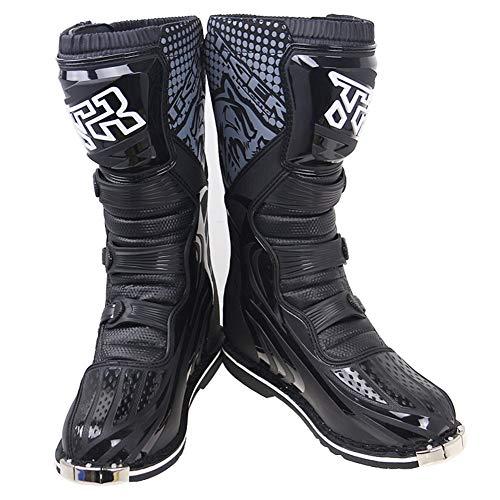 Deporte al Aire Libre de la Armadura de la Motocicleta Protección Boots - Hombres Impermeable Negro Botas de Motocross Pro, Anti Slip Tobillo Protección Racing ATV MX Moto Boot (Size : EU42(UK7.5))