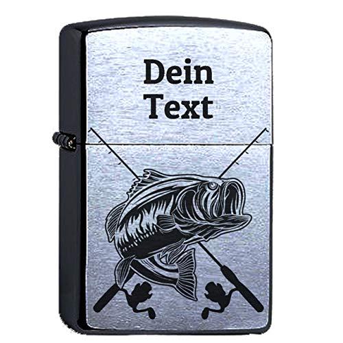 elbedruck Angler Fischer mit Wunschgravur Personalisieren Lasergravur Compatible with Zippo. Dein Text personalisiert. Köder Angelverein Angeln Fischen