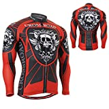 Cycling Jerseys Tops Bicycle MTB Gear Road Long Sleeve Clothes Full Zipper Bike Jacket with Pockets for Men Skull Crossroad