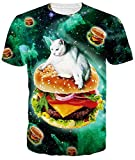 Mens Cool T Shirts Tees 3D Digital Funny Cat Hamburger Print Personalized Graphic Novelty Clothing for Teen Boys Girls Casual Sport Daily Short Sleeve Tops XL
