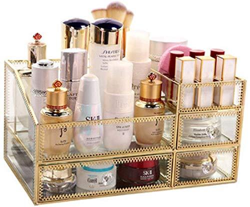 Glas kosmetischer Kasten Regal-Glasspiegel Transparent kosmetisches Aufbewahrungsbehälter-Girls Best Gift Skin Care Schubladen Desktop-Finishing-Rack Frisierkommode Lippenstift (Farbe: Gold, Größe: 32