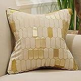 Avigers 18 x 18 Inch Plaid Embroidery Velvet Cushion Cover Luxury European Pillow Case Pillowcase...