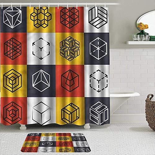 MTevocon Duschvorhang Sets mit rutschfesten Teppichen,Zusammensetzung der Quadrate Würfel, Badematte + Duschvorhang mit 12 Haken