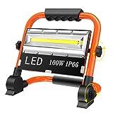 T-SUN Luz de Trabajo Foco LED Recargable, 100W Luz de Inundación Portátil Solar, 360°Giratorio, Impermeable IP66 Proyector al Aire Libre Recargable de 11000mAh para Obra, Taller, Garaje.