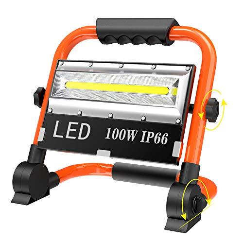 T-SUN 100w LED Lampada da Lavoro USB Ricaricabile Lampada Emergenza, Ricaricabile Faretto da Cantiere, Faretto LED da Esterno Impermeabile IP66, Proiettore da Cantiere con Rotazione a 360 °.