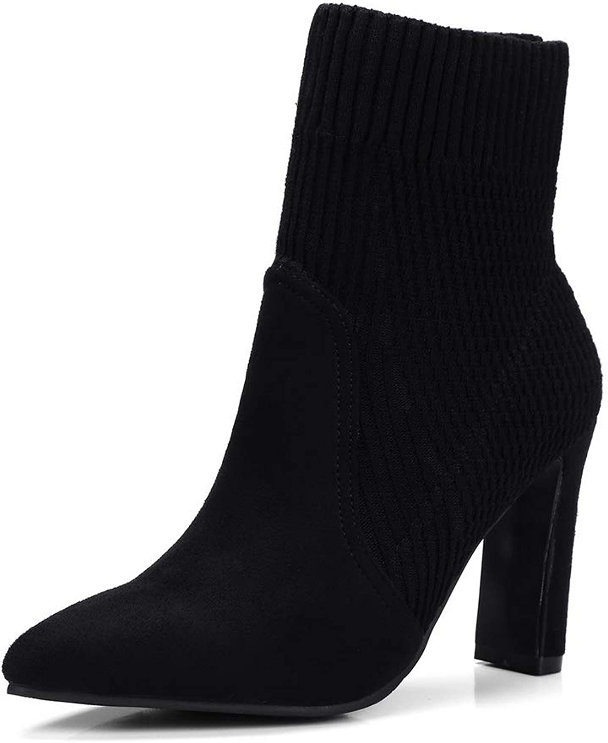 AN Womens Cone-Shape Heel Pointed-Toe Imitated Suede Boots DKU02358