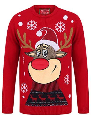"""Tokyo Laundry """"Merry Christmas"""" Weihnachtspullover mit Rundhalsausschnitt und LED-Licht Gr. Large, Rudolph das Rentier George Red"""
