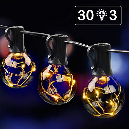 MYCARBON LED Lichterkette außen 10.7M 33er Birnen wasserdicht Lichterkette Outdoor/Indoor Lichterkette Glühbirnen mit stecker Deko für Garten Zimmer Bar Balkon Party 3 Ersatzbirnen Warmweiß