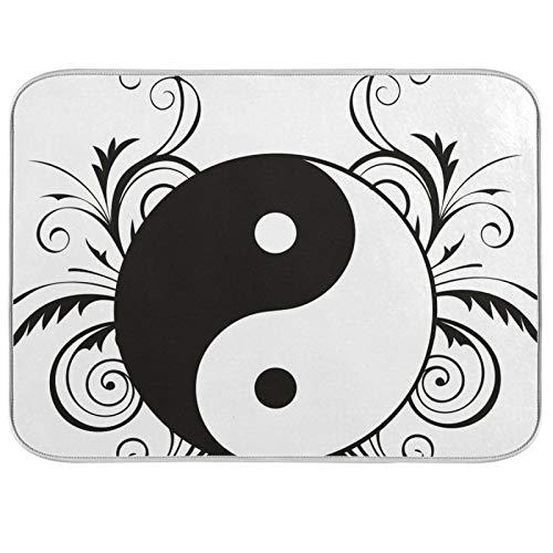 Estera para secar platos, encimeras de cocina de microfibra, protector de almohadilla seca, 16 x 18 pulgadas, religioso, inglés, carambola, cultura zen