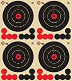 Reactive Targets (Peel-and-Stick - Adhesive Target) 4.5' Four Bulls Eye Target - Biggest Reactive/Splatter Effect Providing Visual Feedback & Easy Hit Identification 11' H x 12' W (100 Pack)