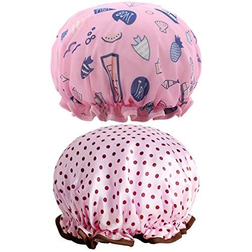 PRETYZOOM 2 stks Dubbellaags Badmuts Waterdicht Dot Patroon Satijn Elastische Band Douchekop Cover voor Schoonheid Haar Salon Spa Slaap (Pink Blauw)