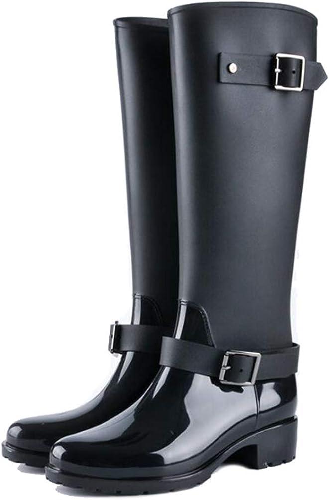 Women's Knee High Waterproof Anti-Slip Rain Boots Comfort Low Chunky Heel Round Toe Side Zipper Booties