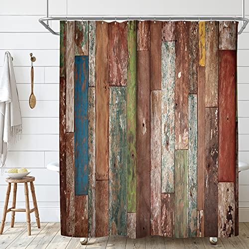 Riyidecor Antique Wooden Shower Curtain Metal Hooks 12 Pack Red Blue Grey Grunge Rustic Planks Barn House Wood Lodge Hardwood Decor Fabric Bathroom Waterproof 72Wx72H Inch