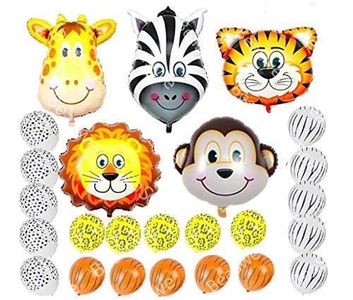 25 palloncini a tema giungla Safari in lattice a forma di testa di animali, regali per bambini, decorazioni per feste di compleanno, scimmia, tigre, leone, zebra