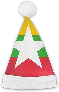 Flag Myanmar Plush Christmas Cap Santa Hat Adult Child