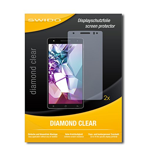 SWIDO 2 x Bildschirmschutzfolie Medion Life X6001 Schutzfolie Folie DiamondClear unsichtbar