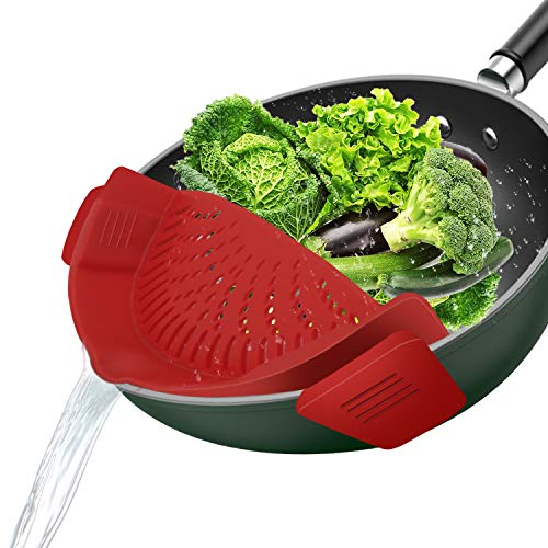 1 Pack Clip-on Strainer, for Strainers and Colanders for Kitchen, Silicone Food Strainer Hands-free...