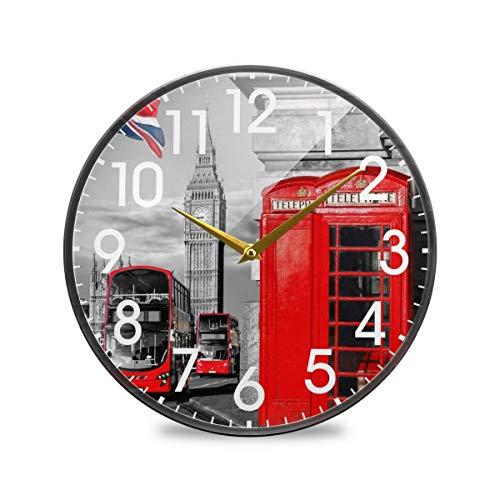 Big Ben London Cabina de teléfono Símbolo de la Bandera británica VintageRound Reloj de Pared con Pilas Sin tictac Cuarzo silencioso para el hogar Sala de Estar Oficina Cocina Dormitorio