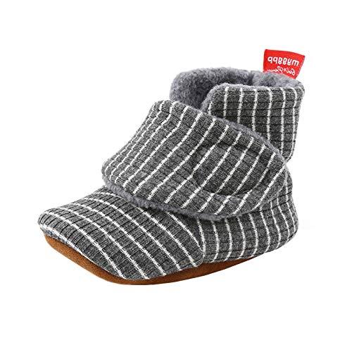 YUEZIHUAHUA Botas de bebé unisex acogedoras para bebés con estampado de rayas suaves para cuna, zapatos para niños pequeños, antideslizantes, botas de primer caminante - gris - 12 -18 meses