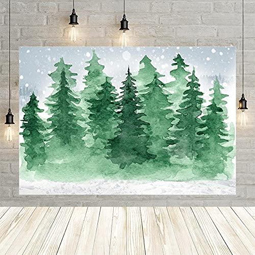 Invierno Navidad Paisaje árbol Bosque Nieve Copos de Nieve Retrato de bebé decoración niño telón de Fondo Estudio fotográfico Personalizado Vinyl-250x180cm