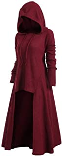 Womens Hoodie Dress Gothic Long Swing Dresses Retro Victorian Dress Halloween Costume Hooded Dress Robe Gothic Medieval El...