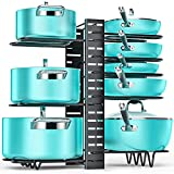Pan Organizer Rack for Cabinet, Pot and Pan Organizer for Cabinet with 3 DIY Methods, Adjustable Pan Pot Rack with 8 Tiers, Heavy Duty Pot Organizer Deep U-shaped Design with Obstructed Slip Layer