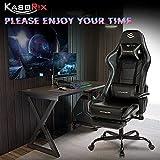 Kasorix Silla gamer con reposapiés, color negro, con reposabrazos ajustable, silla de ordenador con respaldo alto, silla Gaming Chair 8512 (BLACK-8512)