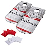 Busch Hey! Play! Budweiser Cornhole Outdoor Game Set, 2 Wooden Anheuser Can-Shaped Corn Hole Toss Boards with 8 Bean Bags, Brown