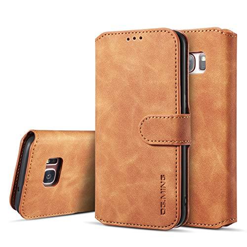 UEEBAI Handyhülle für Samsung Galaxy S7 Edge, Hülle Retro Premium PU Leder Weich TPU Klapphülle [Magnetverschluss] Kartenfach Standfunktion Anti Kratzern Flip Wallet Trageband Schutzhülle - Braun