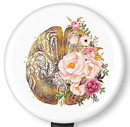 Floral Brain Art Retractable Badge Reel with Alligator Clip,Name Nurse ID Card Badge Holder Reel, Decorative Custom Badge Holder