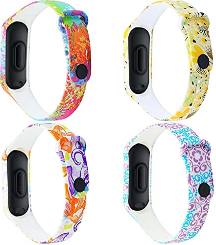 Gransho Correa de Reloj Recambios Correa Relojes Caucho Compatible con Xiaomi Mi Band 3 / Mi Band 4 / Mi Smart Band 4 / Mi Fit Band 4 - Silicona Correa Reloj con Hebilla (4-Pack I)