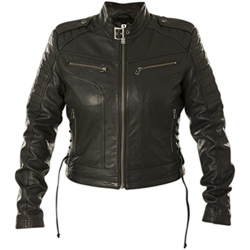 Affliction Damen Lederjacke Blacktrail Schwarz, XS