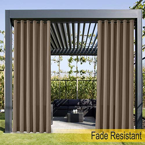 Waterproof, Fade Resistant Outdoor Curtain Chocolate 66'W x 72'L, Rustproof Grommet Eyelet Drapes For Front Porch, Pergola, Cabana, Covered Patio, Gazebo, Dock, and Beach Home (1 Panel).