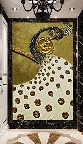 WG1390 Wandtattoo, 3D-Motiv goldener Pfau, abnehmbar, selbstklebend, groß, 146 x 208 cm (B x H)