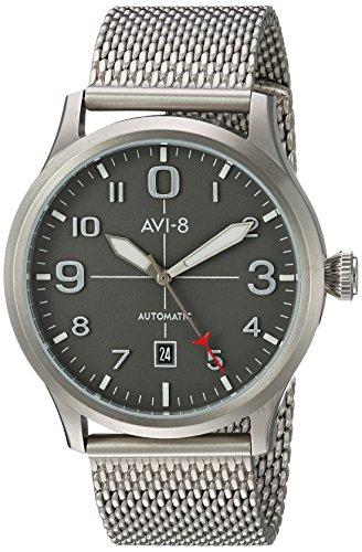 AVI-8de los Hombres Flyboy japonés automático Acero Inoxidable Reloj de Aviador, Color: Silver-Toned (Modelo: AV-4021-22)