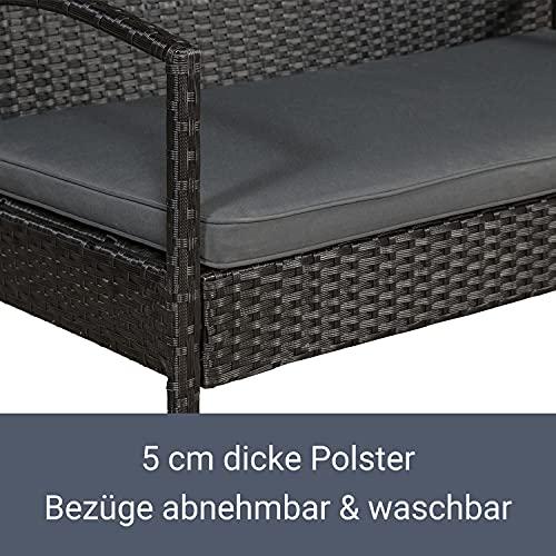 ArtLife Polyrattan Sitzgruppe Trinidad – Gartenmöbel Set mit Bank, Sessel & Tisch für 4 Personen – schwarz mit grauen Bezüge – Terrassenmöbel Balkonmöbel Lounge - 6