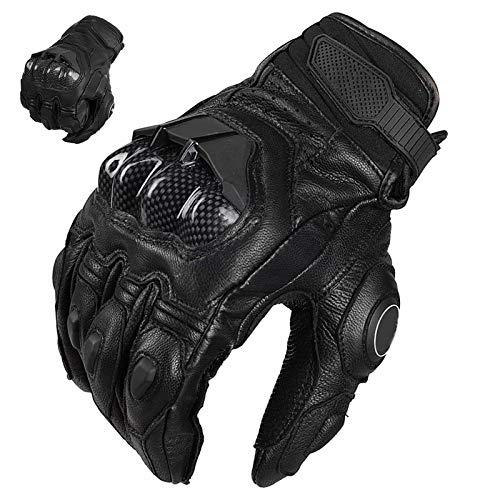 Auboa Leather Dirt Bike Motorcycle Gloves for Men Women, Motorbike Powersports ATV MTB Riding Gloves Motorcycle(Black,Large)