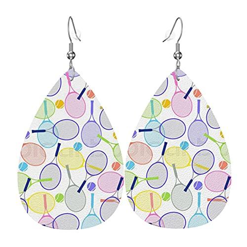 Pendientes de cuero de imitación de raqueta de tenis de color, pendientes colgantes en forma de lágrima para mujeres, niñas, joyería, regalo de fiesta de cumpleaños de San Valentín