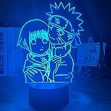 Lámpara de ilusión 3D LED para niña, Uzumaki, Naruto y Hinata Hyuga cambio de color para el hogar, el dormitorio o la decoración USB Anime regalo