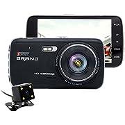 "junsun 4"" HD 1080P Car DVR Dash Cam 170° Wide Angle Dashboard Camera Vehicle Recorder Dual Lens recording + Rear view Night Vision with ADAS"