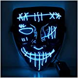 Twister.CK LED Halloween Mask, Light up Mask Cosplay, LED Glow Effrayant Visage Purge Masque pour Festival Party Carnival Cosplay, Glowing in Dark Hommes Femmes Halloween Cosplay (Bleu)